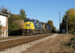 CSX 8756 passes by the North fowler signals and under the nearly full moon